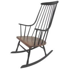 Midcentury Rocking Chair Swing Seat Knot Mid Century Danish Modern Scandinavian Rocker By Lena