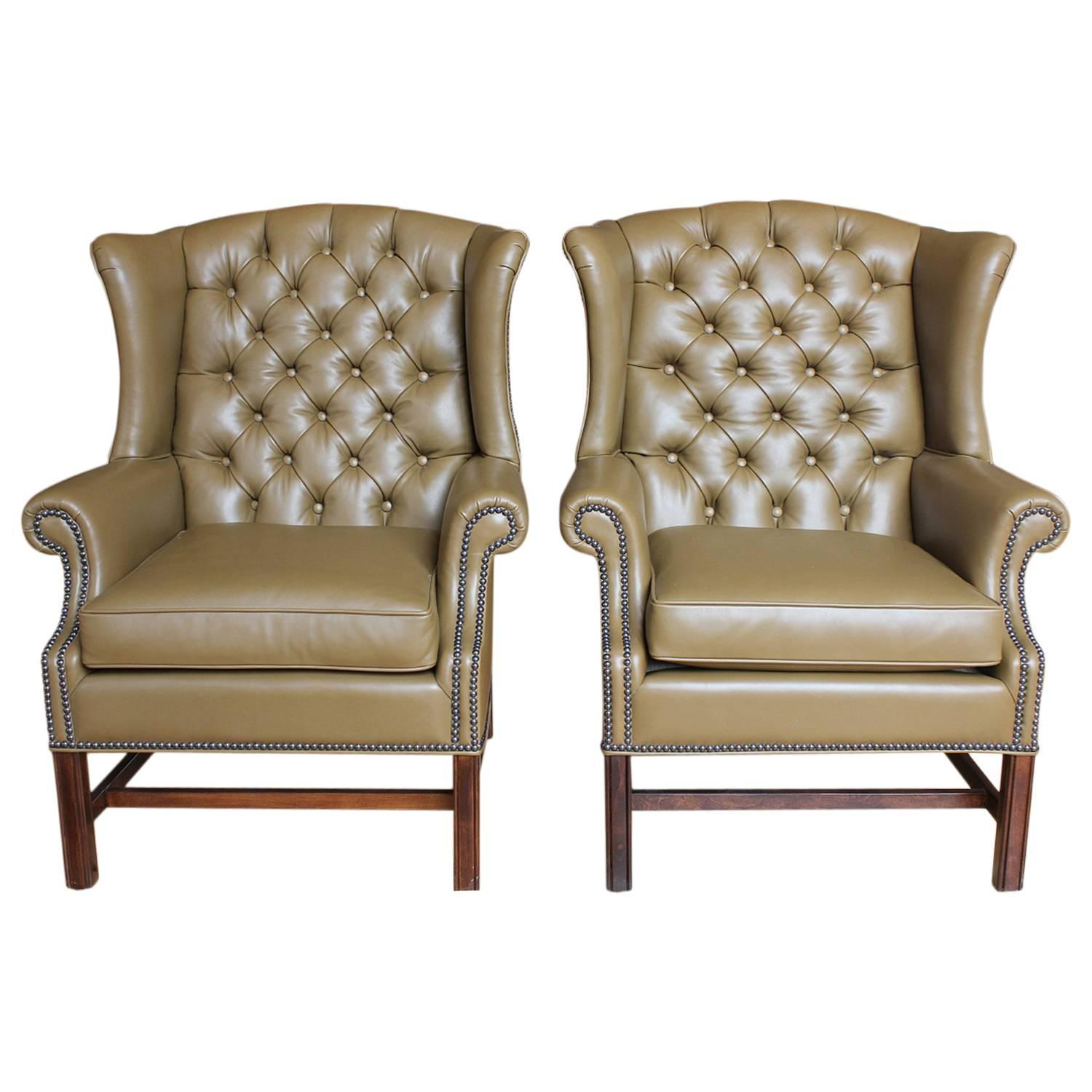 tufted leather wingback chair hanging wicker egg nz 1920s american library wing for sale