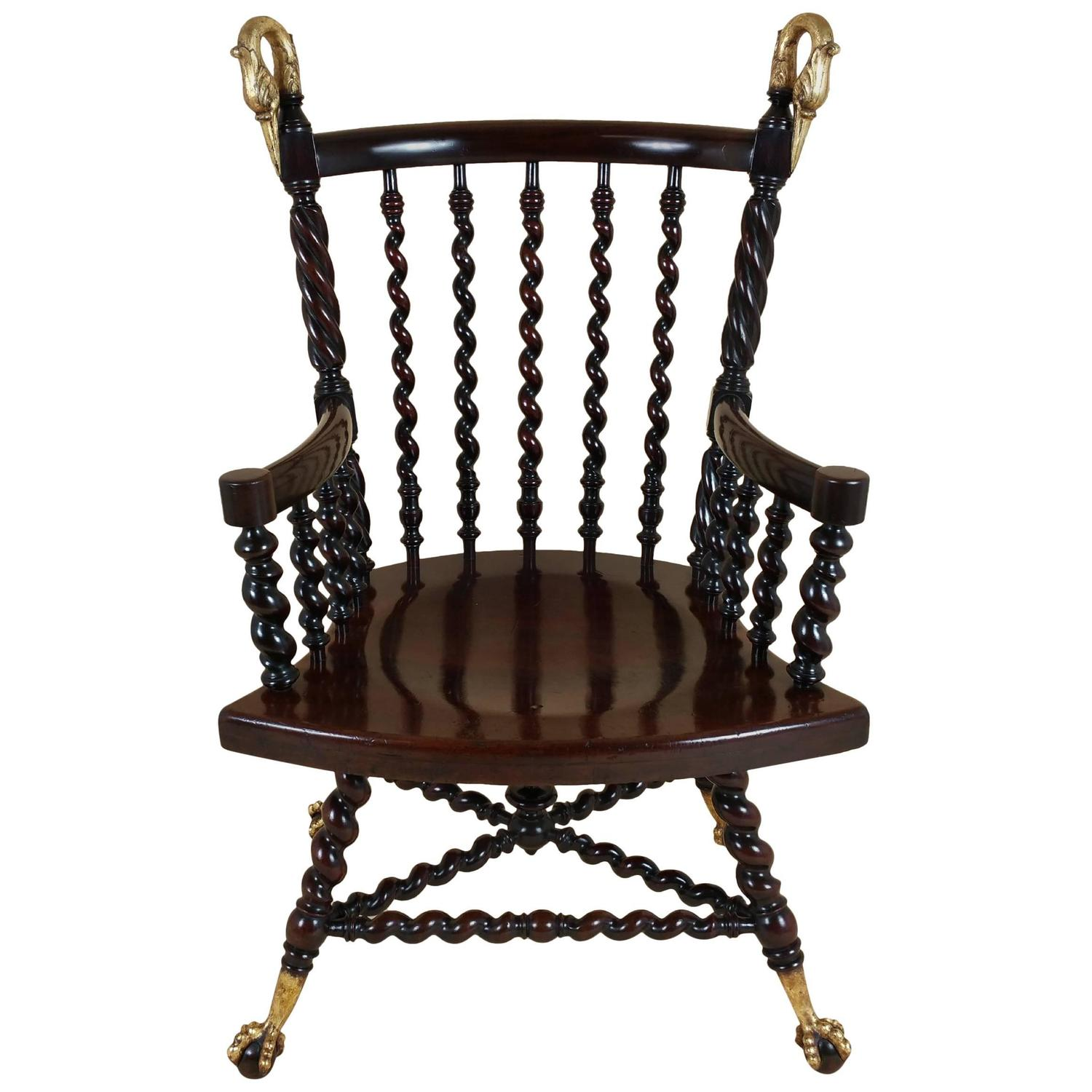 barley twist chair cover hire bedford 19th century american mahogany armchair with