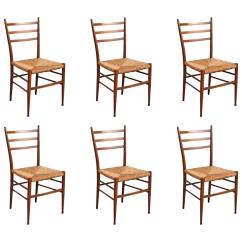 Italian Designer Dining Chairs Office For Back Pain Six Modern Gio Ponti Style At 1stdibs