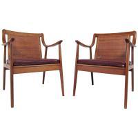 Pair John Stuart Style Midcentury Cane Back Armchairs For ...