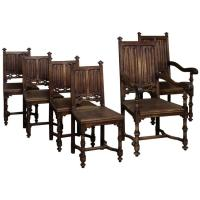 Set of Six 19th Century French Gothic Dining Chairs For ...