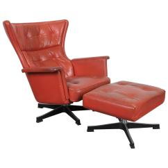 Swivel Chair Mid Century Log Rocking Plans Modern Red Leather At 1stdibs