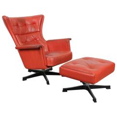 Swivel Chair Mid Century Antique High Modern Red Leather At 1stdibs