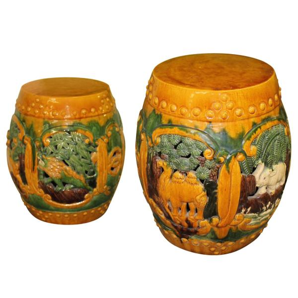 Vintage Pair Of Ceramic Garden Drum Stools Stands With