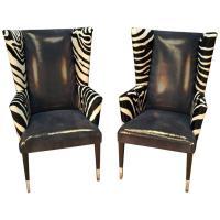 Pair of Modern Wingback Chairs in Zebra Printed Cowhide ...