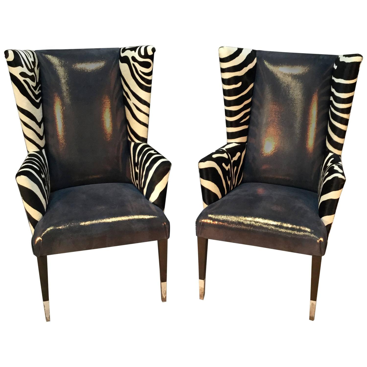 zebra print chairs for sale stylish high chair pair of modern wingback in printed cowhide