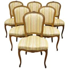 Louis Dining Chairs Tub Chair Covers Argos Set Of Six Carved Walnut French Xv Style Side