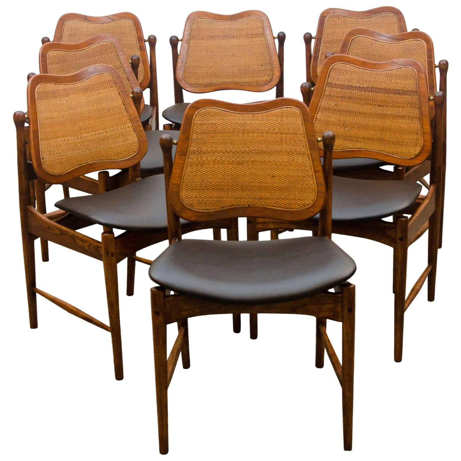 swivel dining room chairs portable high chair set of eight danish back arne vodder