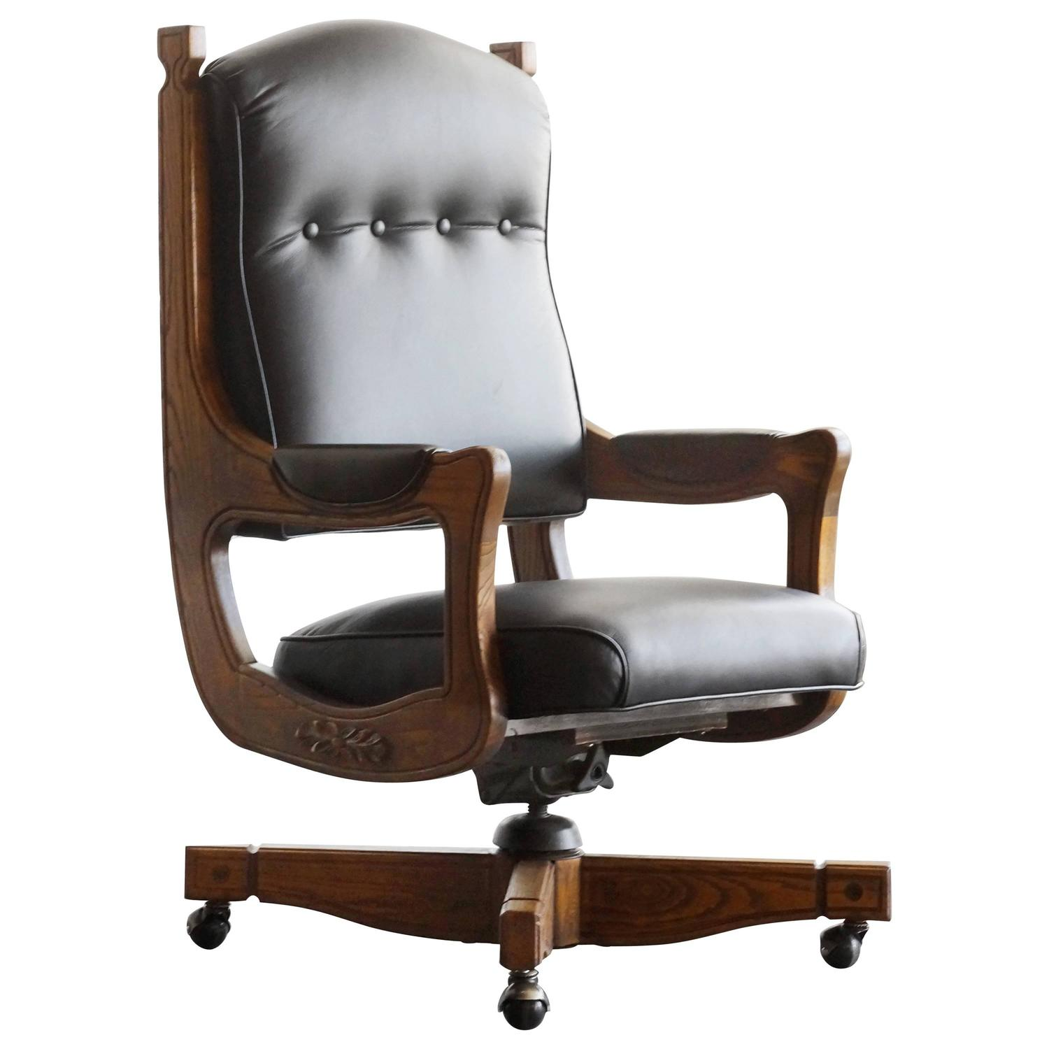 captains chair office chairs for women antique chesterfield in oak and leather at