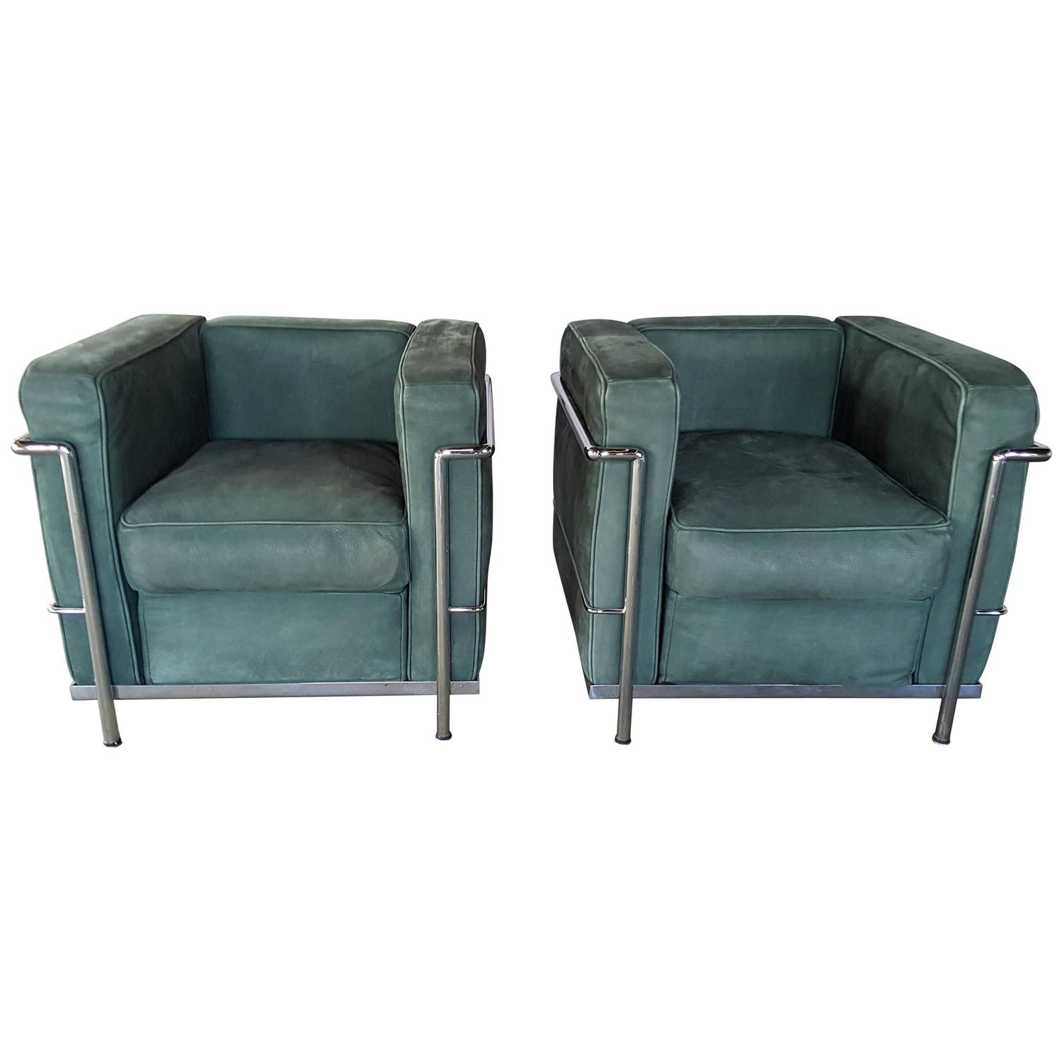 Pair of Le Corbusier LC2 Lounge Chairs Green Suede and