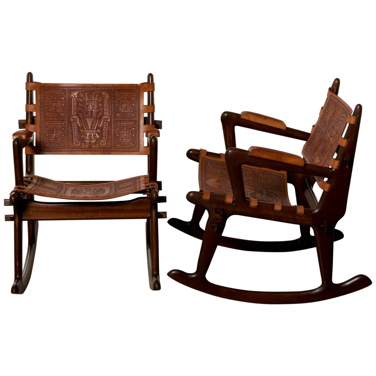 rocking chair leather and wood seaside deck chairs south american tooled