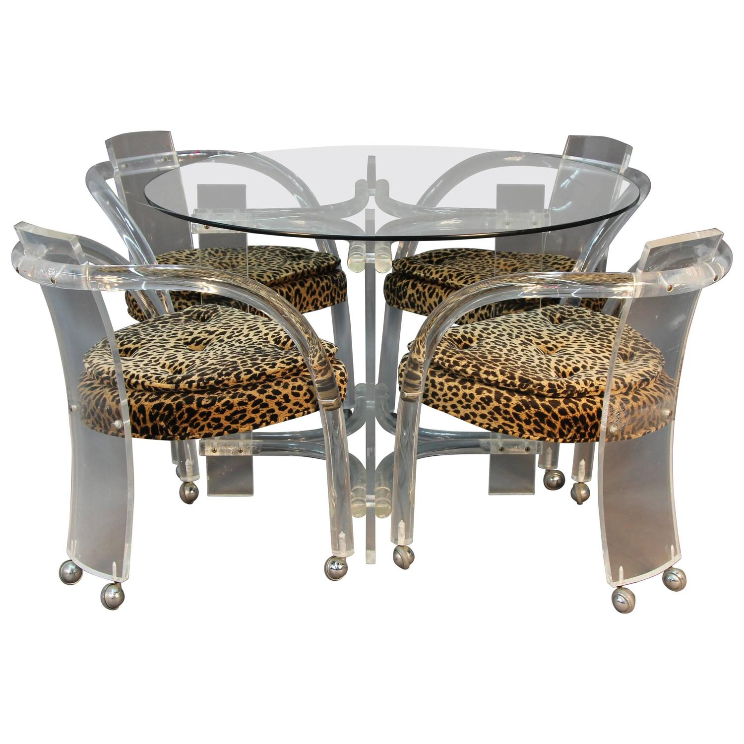 Animal Print Dining Chairs Lucite Table And Four Chair Set With Leopard Print Seats
