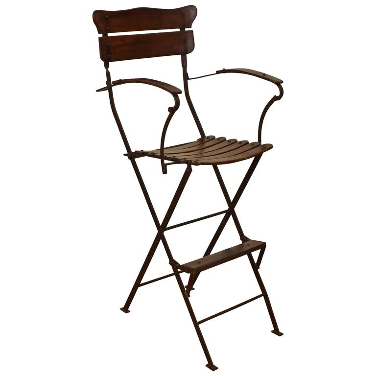 folding umpire chair rocking adirondack chairs french forged iron and wooden s circa 1900 for sale