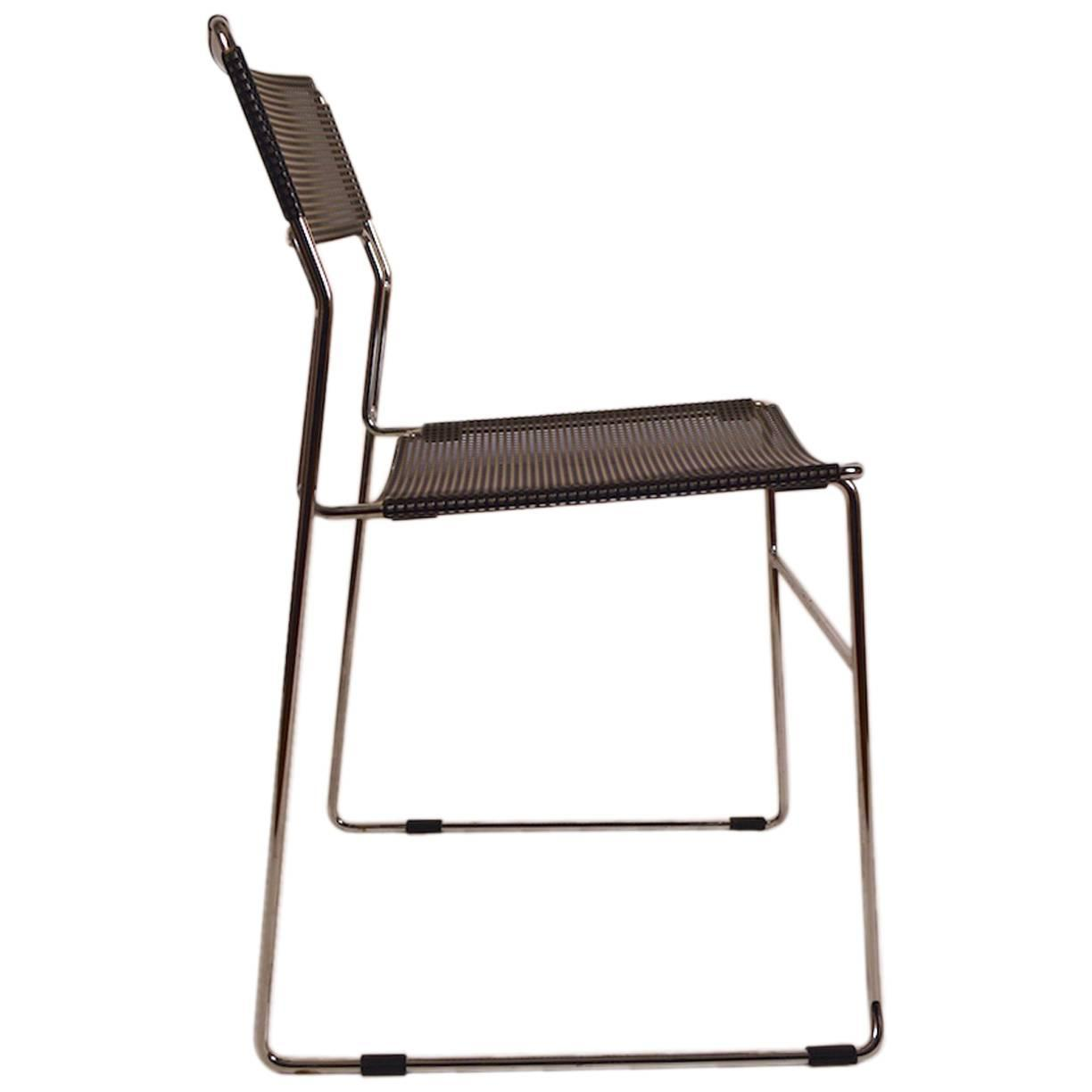 steel chair for office pottery barn baby cover black and chrome metal mesh sale at 1stdibs