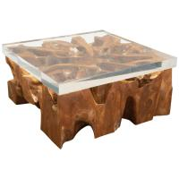 Large Lucite and Wood Coffee Table at 1stdibs
