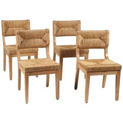 Rush Seat Chairs Brown Leather Wingback Chair Set Of Four Italian Dining With Backs And