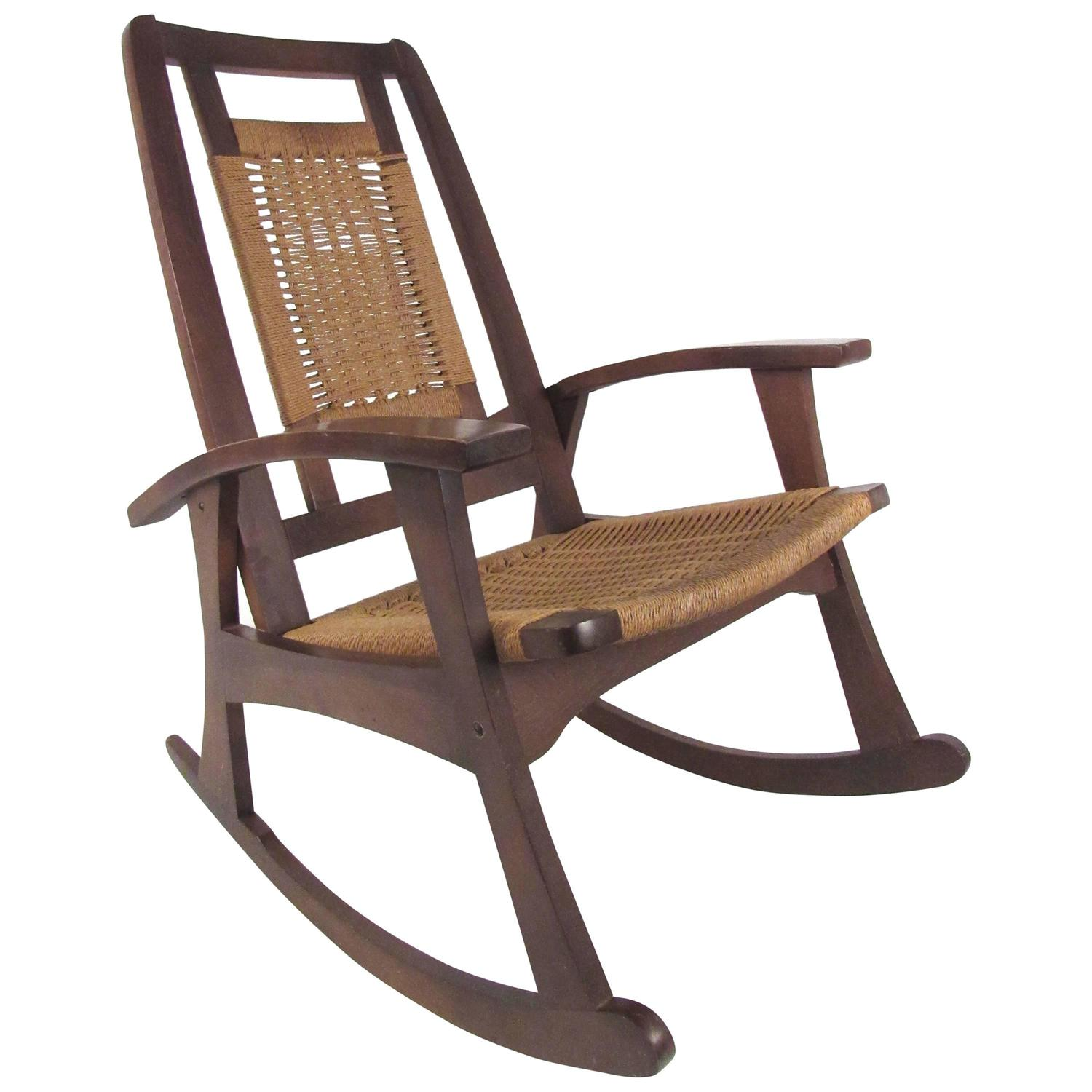 mid century rocker chair fancy covers rush seat rocking for sale at 1stdibs