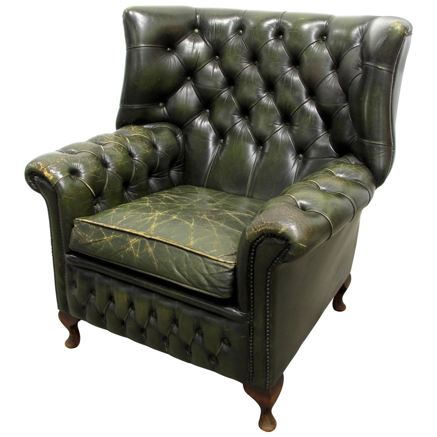 Tufted Leather Chair Green Tufted Leather Wingback Chair For Sale At 1stdibs