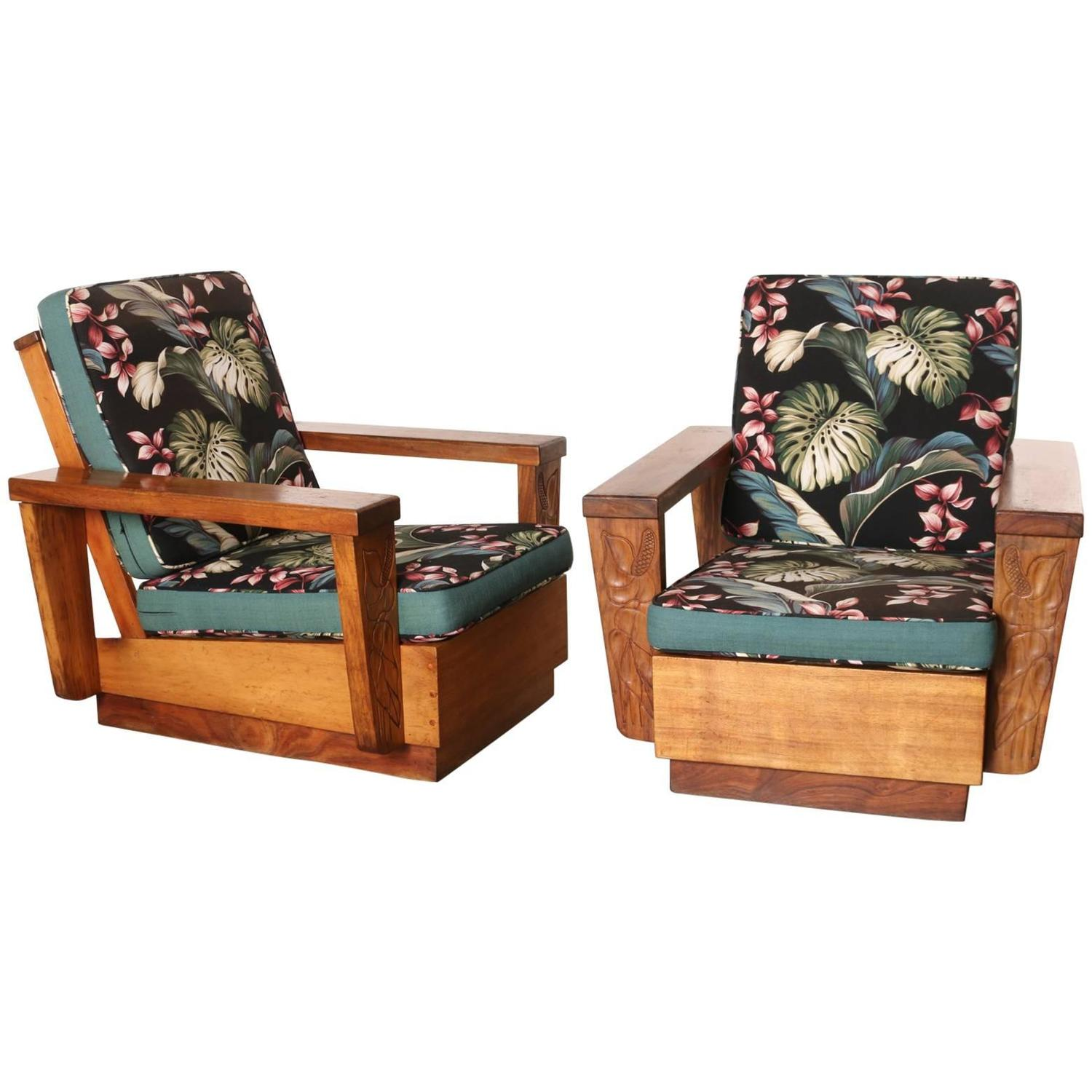Hawaiian Chair Pair Of 1940s Hawaiian Koa Wood Club Chair At 1stdibs