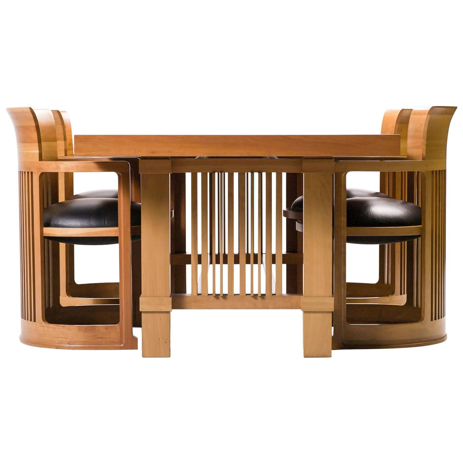 Frank Lloyd Wright Chairs Cassina Taliesin Dining Table And Barrel Chairs Designed
