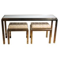 Brass Console Sofa Table with Matching Stools in Style of ...