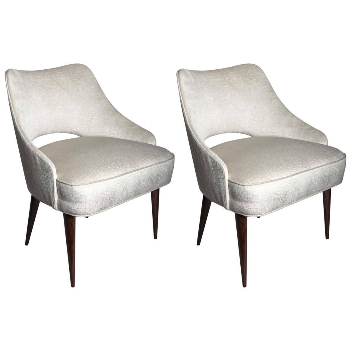 Petite Chairs Pair Of Petite Upholstered Chairs At 1stdibs