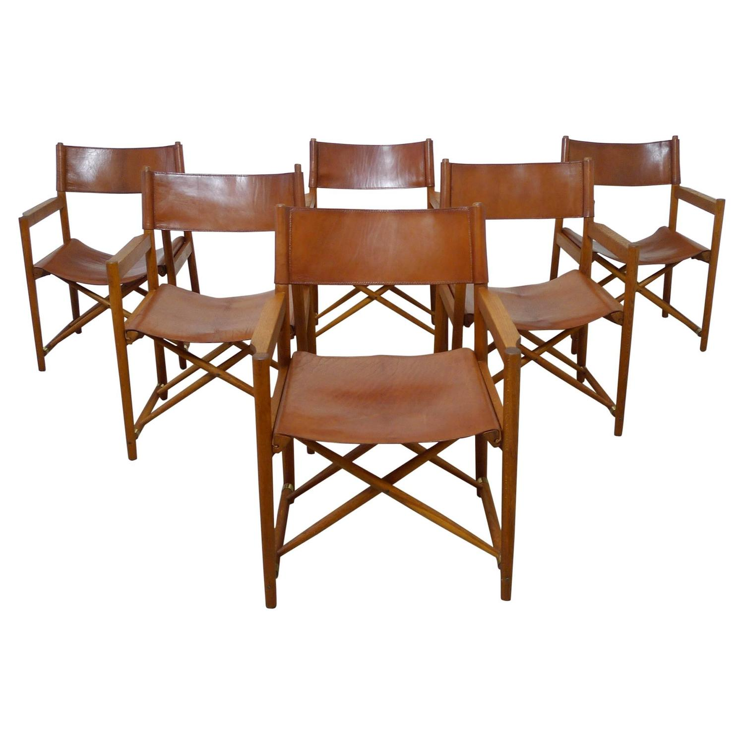 Safari Chair Set Of Six Safari Dining Chairs In The Style Of Mogens