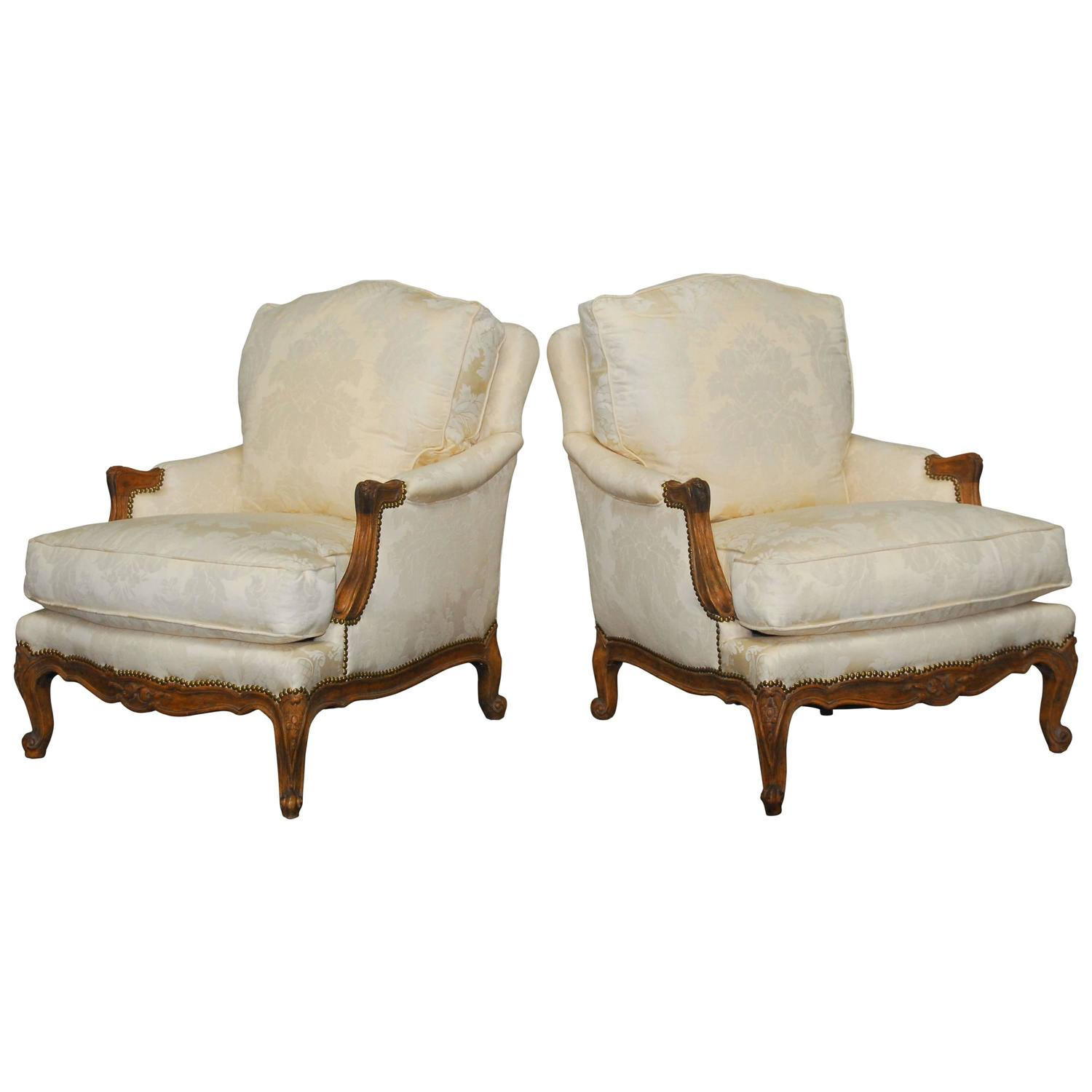 minton spidell chairs unfinished windsor pair of french walnut bergeres by at 1stdibs