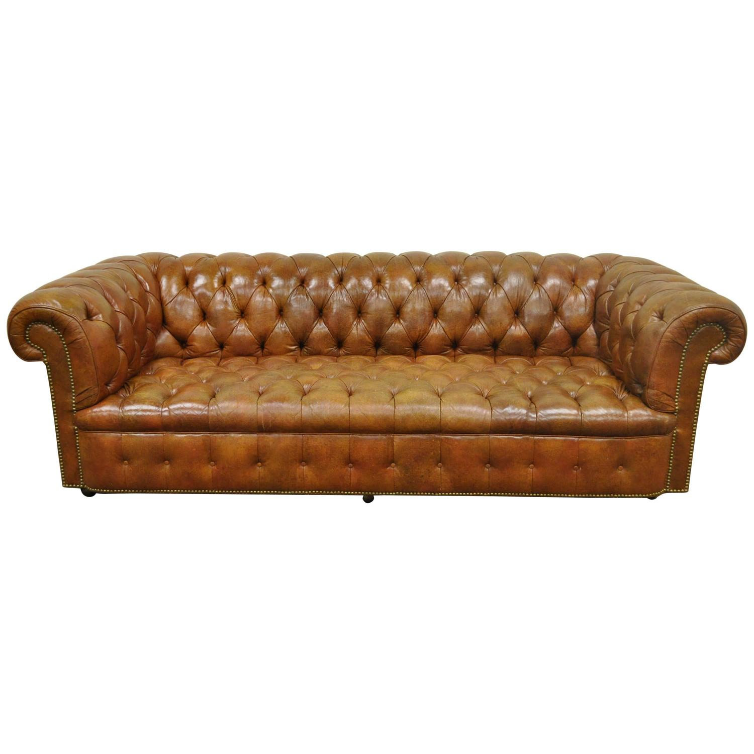 tufted brown leather sofa venta cama barato madrid henredon rolled arm english style button