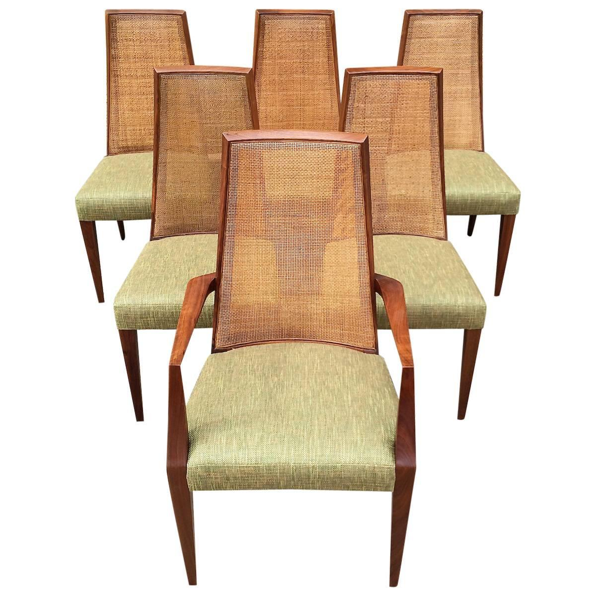 Tall Back Dining Chairs Mid Century Modern Tall Cane Back Dining Chairs By
