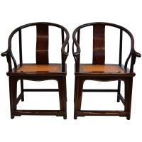 Pair of Early Chinese Horseshoe Back Arm Chairs For Sale