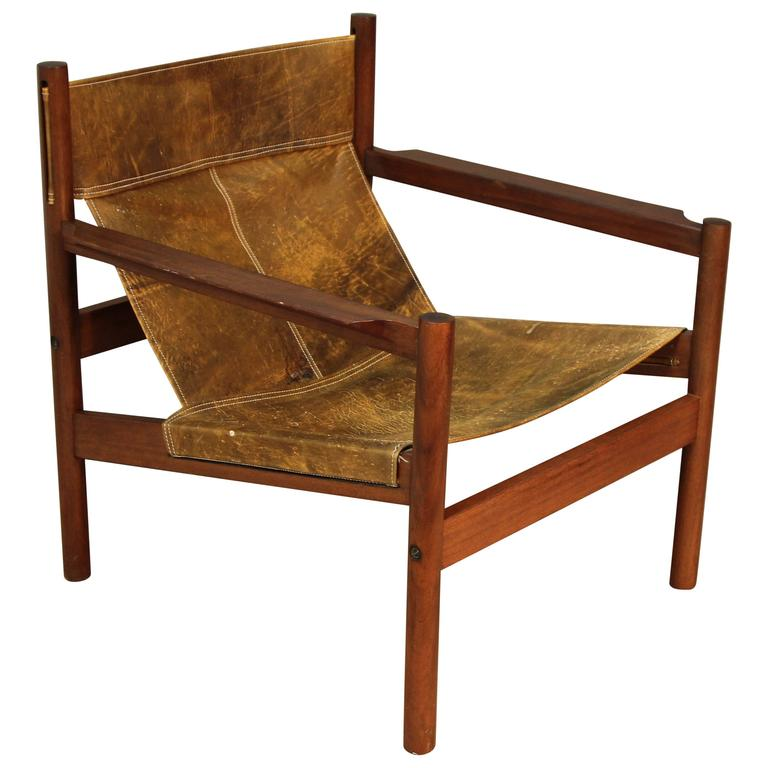 Michel Arnoult Distressed Leather Sling Back Chair At 1stdibs