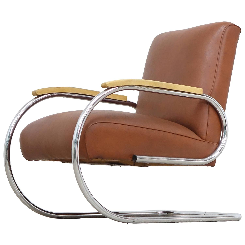 easy chair nadir steel chrome tufted accent tubax bauhaus 1920 tube lounge
