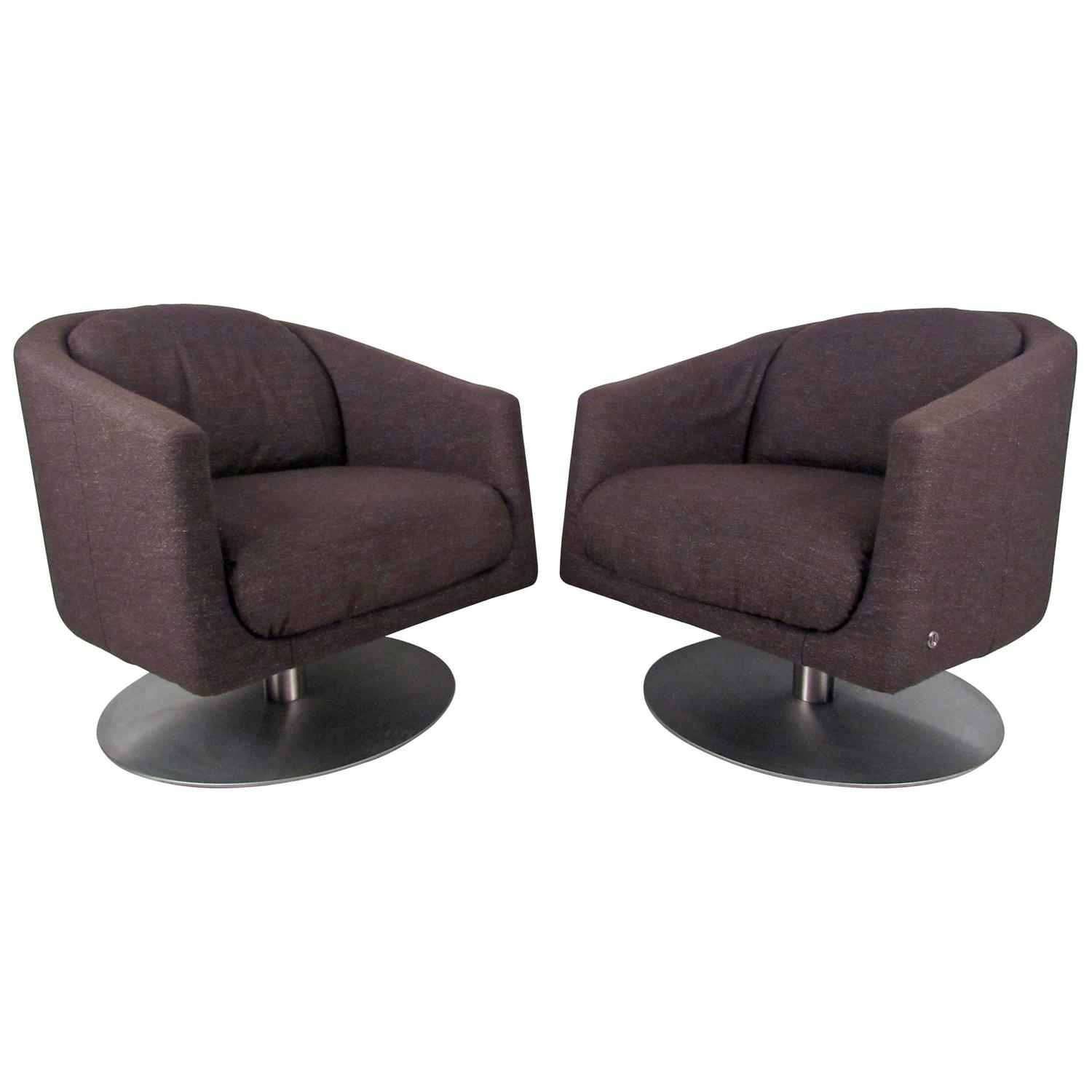 swivel lounge chairs stackable outdoor pair of mid century natuzzi at 1stdibs