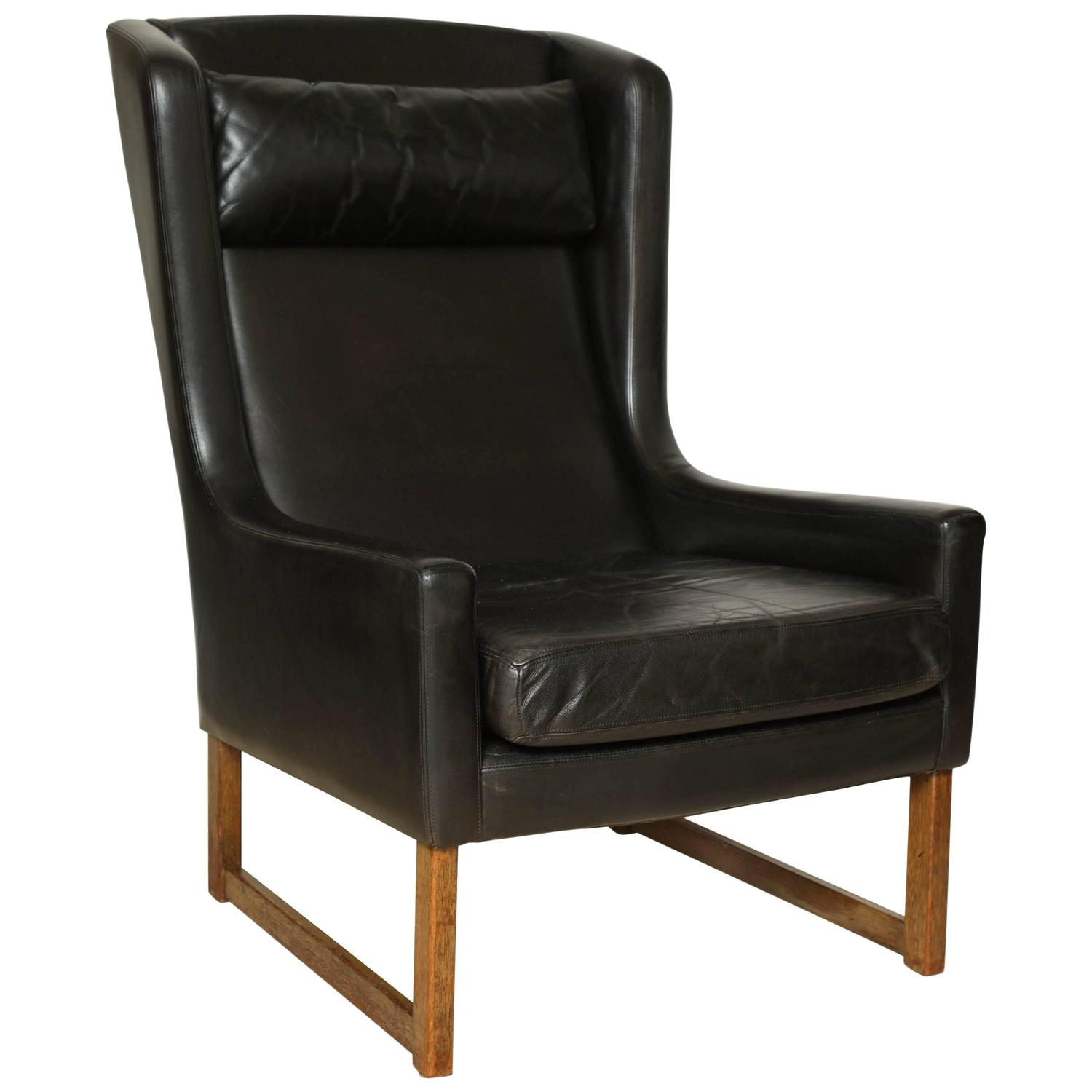 Stretcher Chair Mid 20th Century Black Leather Wing Chair Cross Stretcher