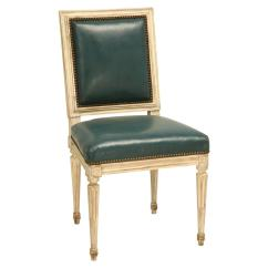 French Louis Chair Teal Fur Saucer Xvi Side Chairs For Sale At 1stdibs