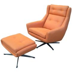 Modern Lounge Chair And Ottoman Set Lizard Cover Mid Century Attributed To