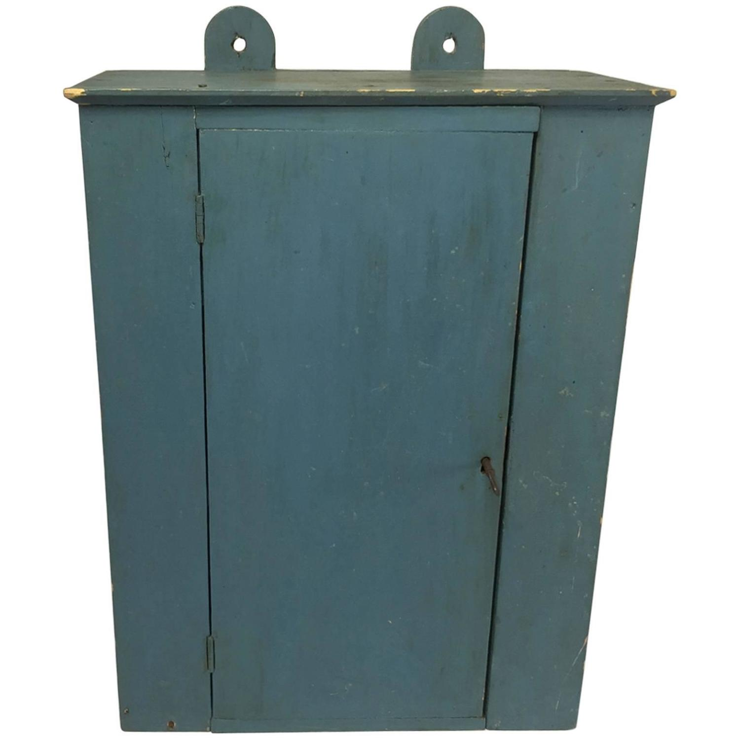 American Folk Art Blue Painted Wall Cabinet at 1stdibs