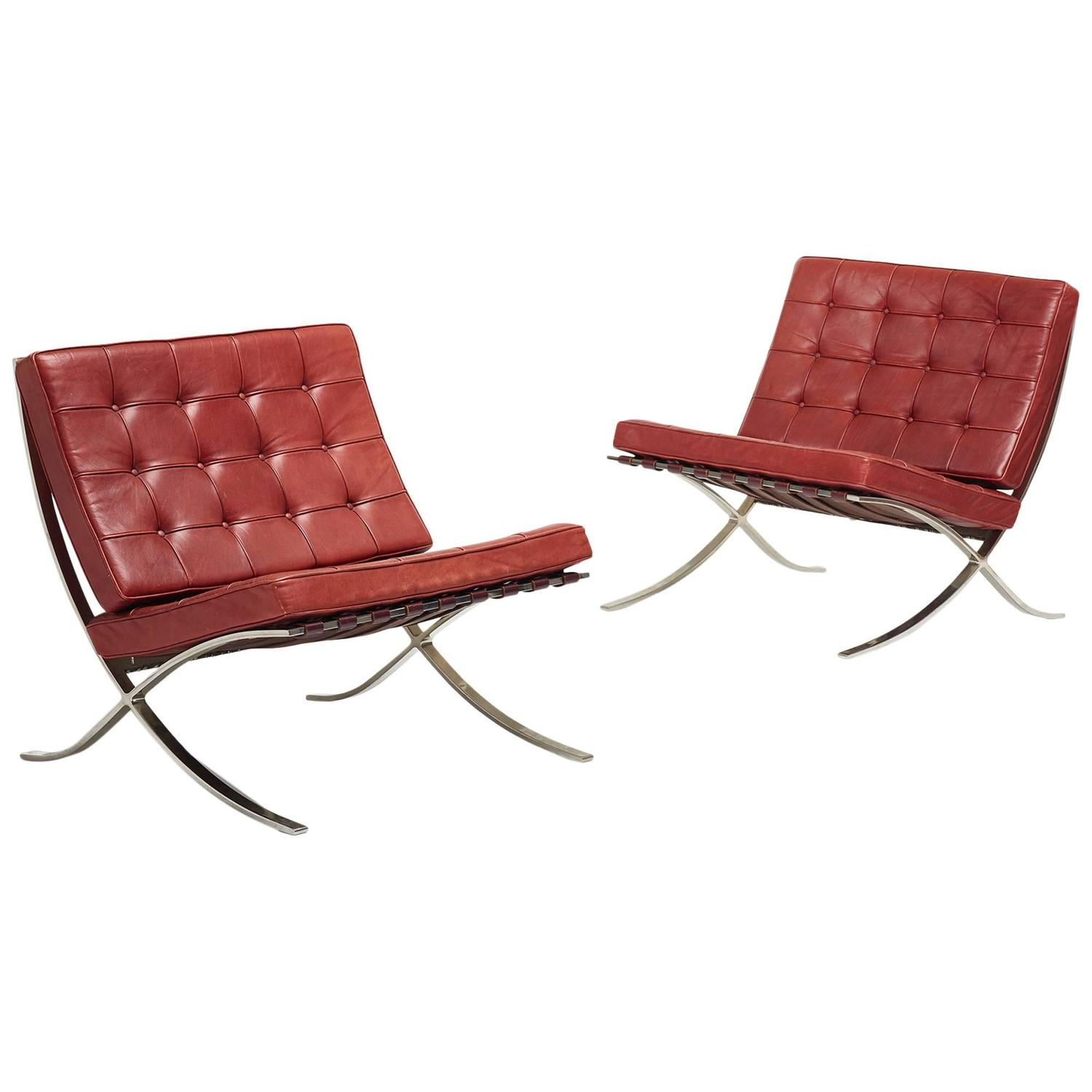 barcelona chairs for sale posture promoting chair pair of by ludwig mies van der rohe
