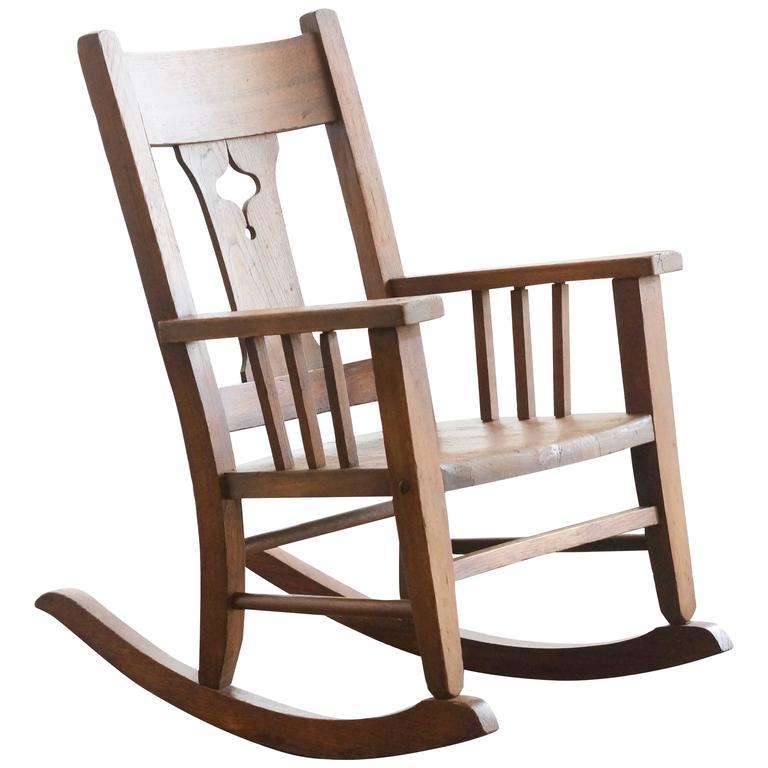 Craftsman Era Childs Rocking Chair Solid Oak at 1stdibs