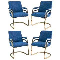 Chromcraft Chairs Vintage Cloth Portable High Chair Pattern Set Of Four Sculptural Brass Dining At