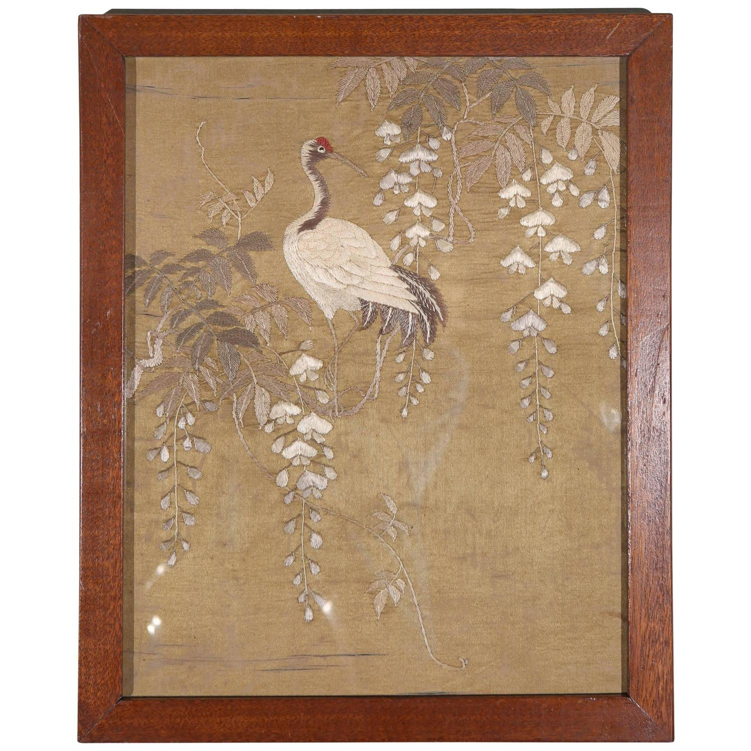 Japanese Silk Embroidery Textile Panel At 1stdibs