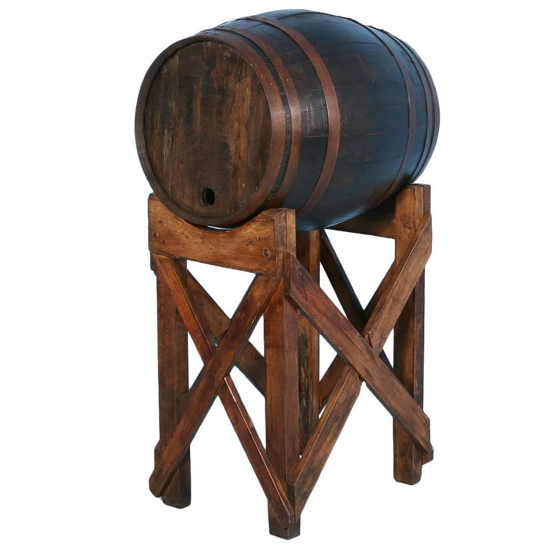 old wooden barrel chairs kitchen stool chair antique oak wine on stand from france circa 1900