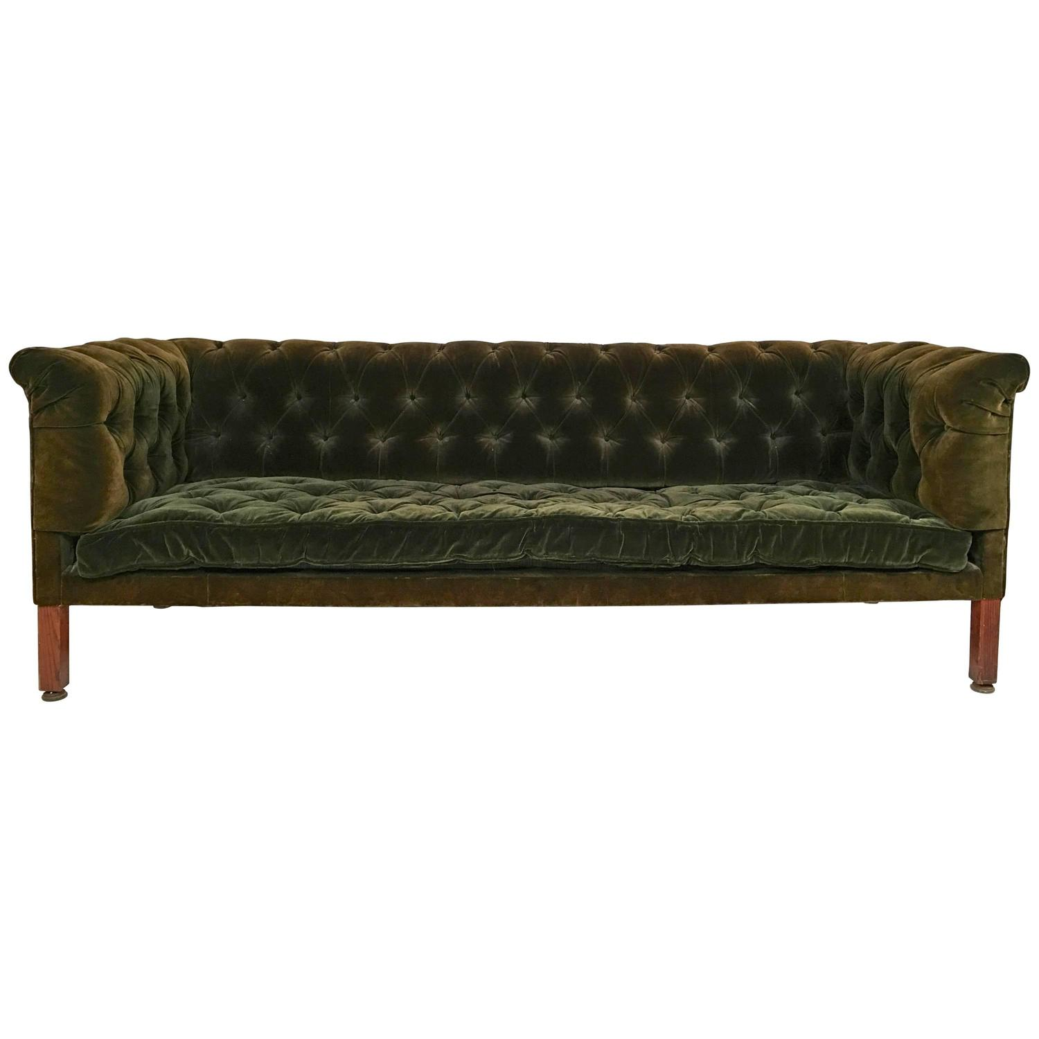 green velvet tufted chair white wooden folding chairs for weddings 2 19th century chesterfield sofa at 1stdibs