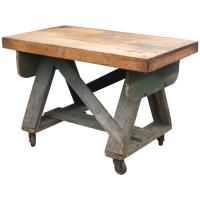Rustic Trussed Work Table on Wheels For Sale at 1stdibs