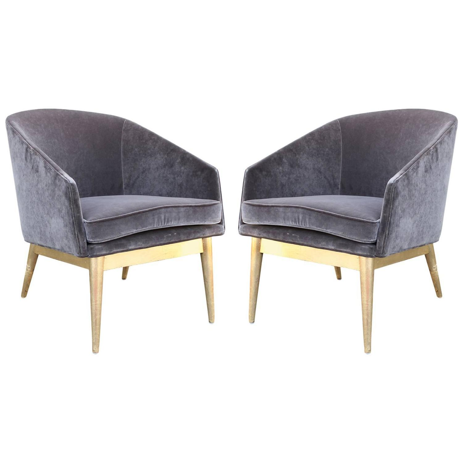 gold velvet chair copa beach cup holder replacement luxe pair of leaf and grey barrel back lounge