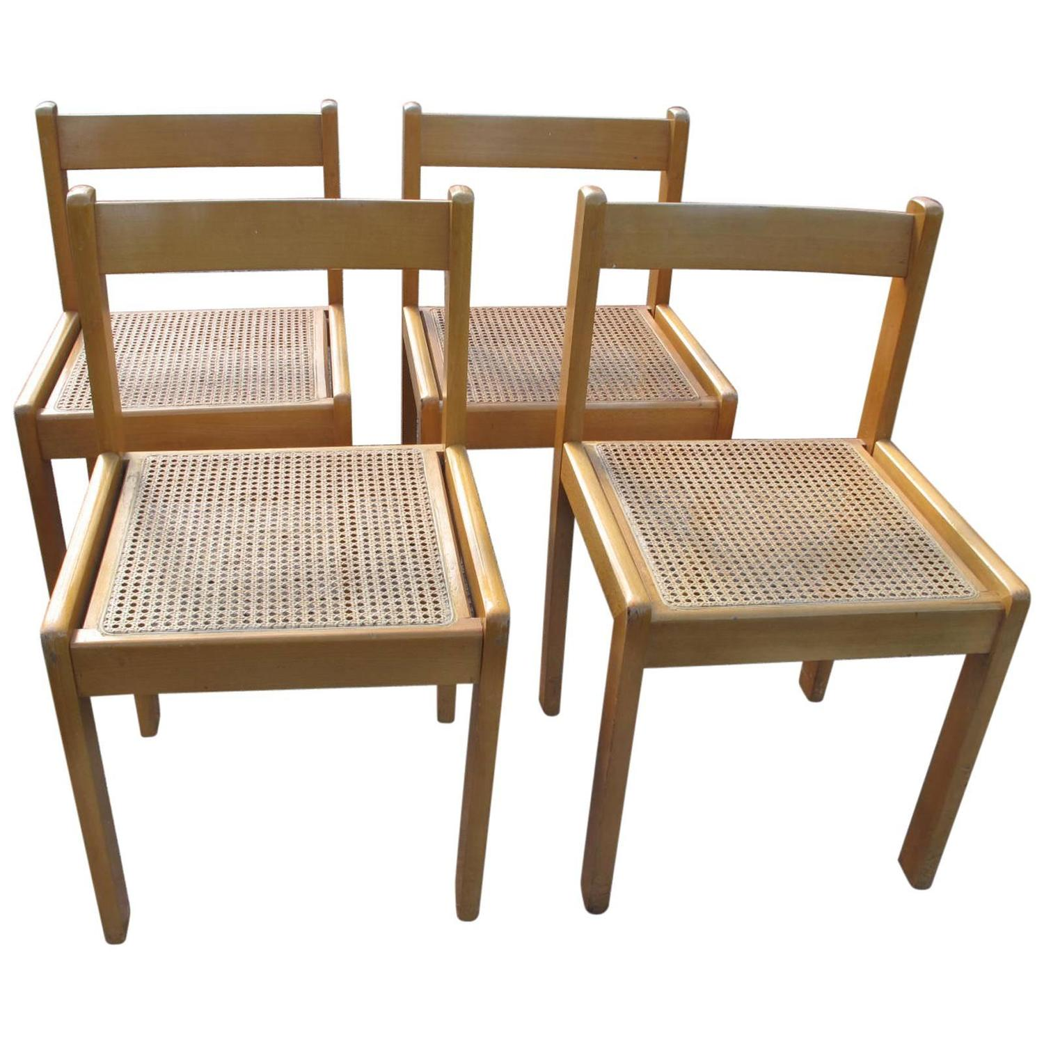 cane dining chairs for sale baby high chair wooden set of four at 1stdibs