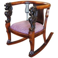 Black Leather Lounge Chair With Ottoman Fishing Cooler Bag Antique Wood Rocking Carved Griffin Lion Dragon At 1stdibs