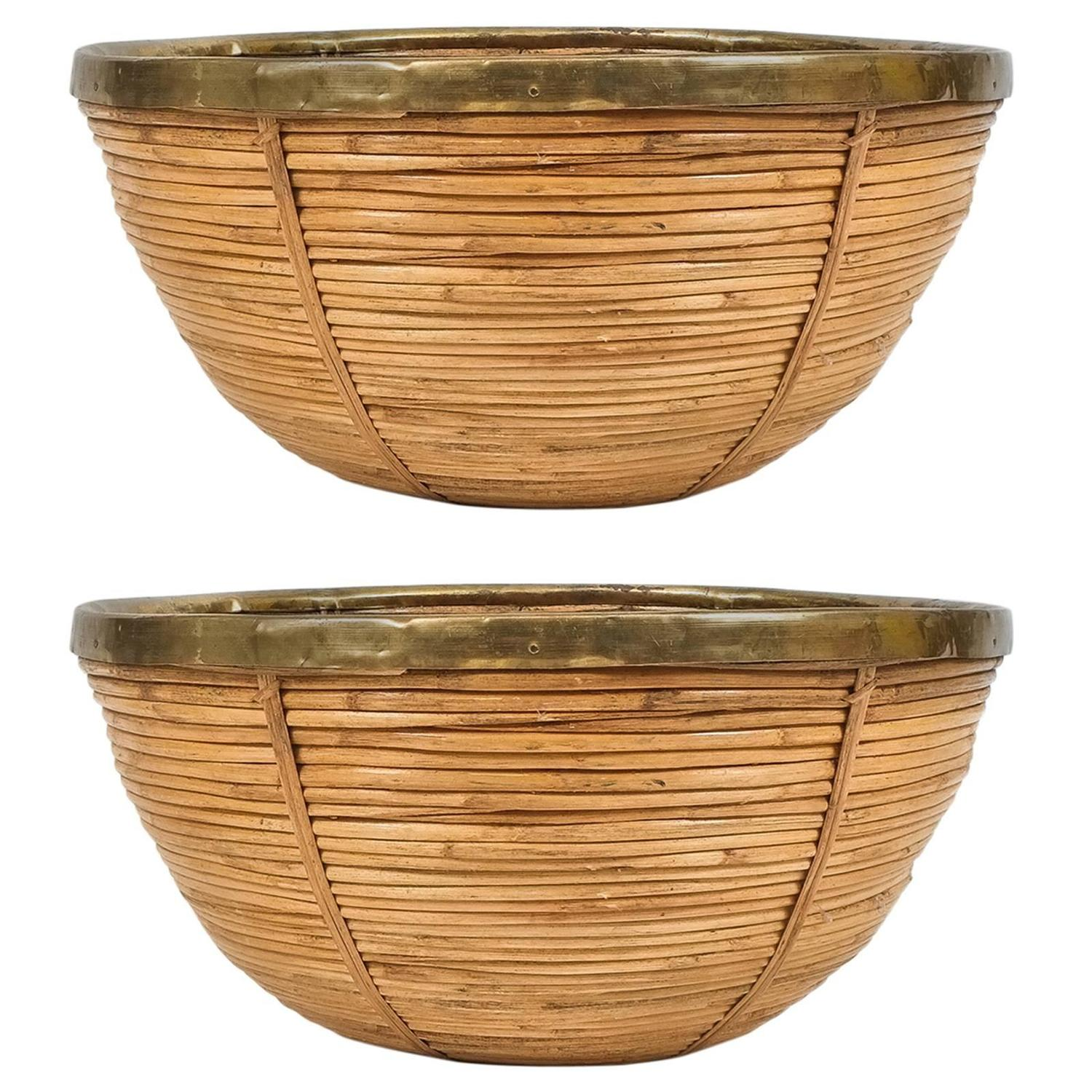 Wicker Bowl Chair Pair Of Large Decorative Mid Century Brass And Rattan